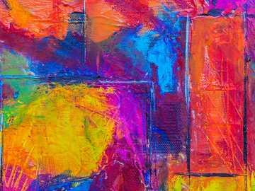 Malowanie małymi mediami mieszanymi - czerwony żółty i niebieski malarstwo abstrakcyjne.