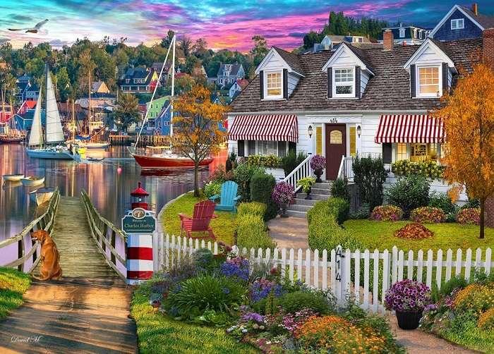 Град край езерото.