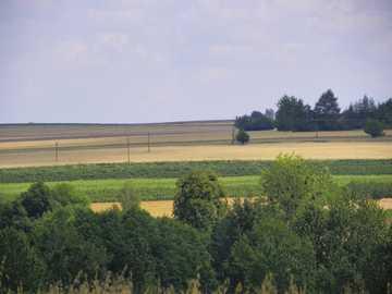 Campos en la región de Lublin - Campos cultivados, un pueblo al sur de Lublin