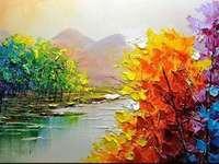 Pictează copaci colorați