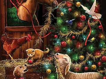 Animals putting together the Christmas tree - Animals putting together the Christmas tree