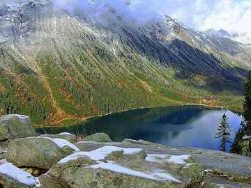 Pologne Tatras - panorama des Tatras - Morskie Oko
