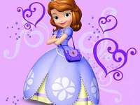 Princess - Princess Sofia stands in a purple background.