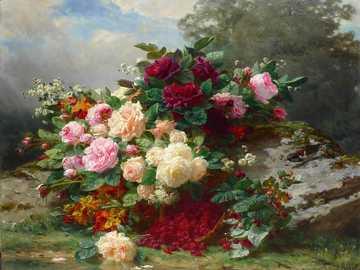 Himbeeren mit Blumen - Gemälde von Jean-Baptiste Robie