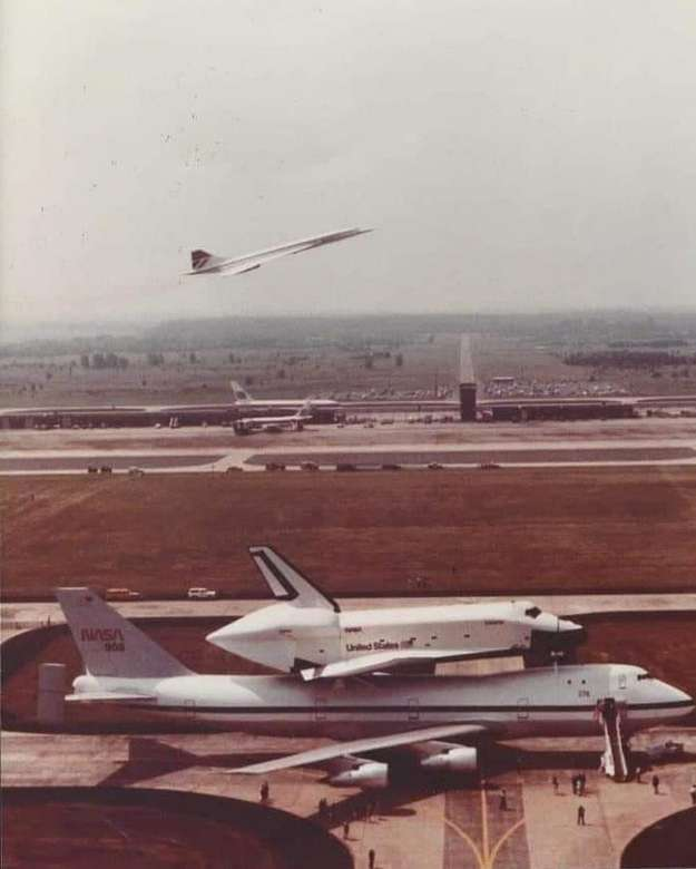 The Concorde - The Concorde, The Shuttle and the NASA Shuttle Carrier Aircraft, all in one rare shot (9×11)