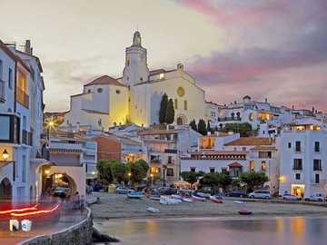 dreamy cadaques - dreamlike, artist village, city beach, white church