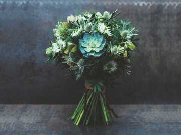 green and white flower bouquet - Bouquet of exotic flowers. Made by deladela.me. Moscow, Россия