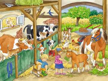 Farm. - Puzzle for children: the countryside.