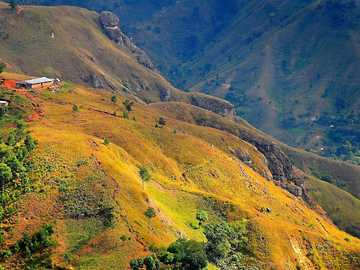Panorama of Haiti - mountains - forests - fields ------