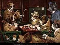 Un arte dos cachorros jogando pôquer