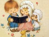 Ilustracion de niños cantando.