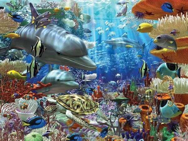 Mundo subaquático - Quebra-cabeça paisagem. Paisagens. Mundo subaquático (12×9)