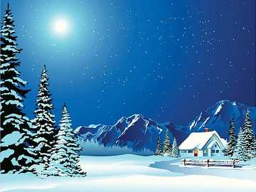 WINTER LANDSCAPE. - Cartoon, winter landscape with snow Cottage - artistic ...