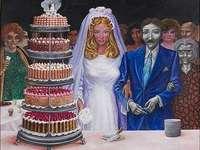 Bröllopet, olja - Författare: Antonio Berni
