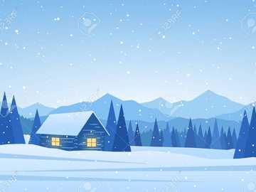 WINTER LANDSCAPE - Winter landscape with a cottage and cojnki