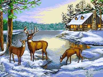 WINTER LANDSCAPE - Winter landscape with deer