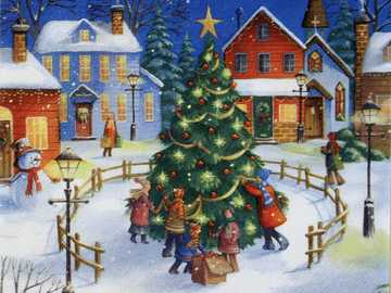 WINTER VIEW - houses, lights, snow, water, children's generosity and gifts