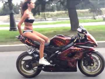 A GIRL WITH A MOTORCYCLE - Girl in bikini & Motor