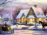 Escena navideña vintage