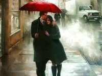 Namorados na tarde chuvosa