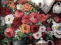 Teteras,tazas y flores