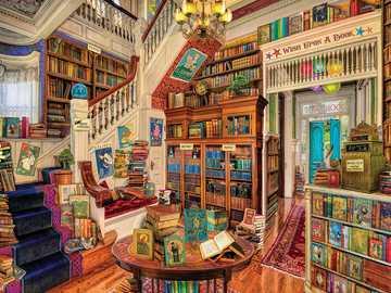 Księgarnia - Książki, pokój, schody