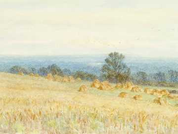 fotografía de campo abierto durante el día - Campos de cosecha en Westerham, Kent, 1880-1910 por Helen Allingham.