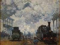 La gare Saint-Lazare: arrivée d'un train, 1877