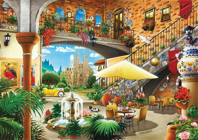 Interior - Interior con una vista. Rompecabezas. Edificio. Interior. Interior con vistas a barcelona (12×8)