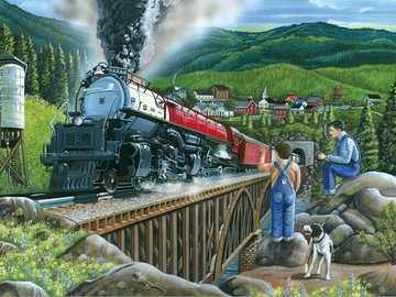 Jigsaw puzzle. - Puzzle with a train.