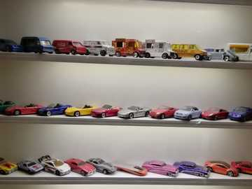 Collection of toy cars. - Exhibition of toy cars in the museum.