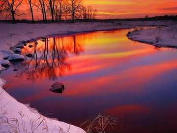 Японски пейзаж 1 - Японски зимен залез