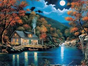Evening landscape - River house in the middle of the night