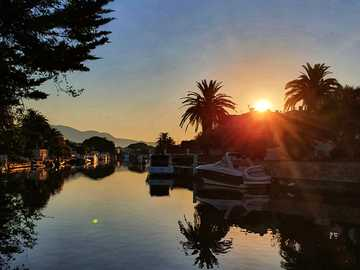 Romance in the morning - Canal in Empuriabrava, sunrise