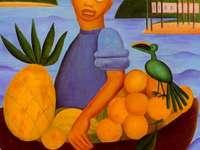 Vendedor de Frutas, Tarsila do Amaral 1925 - Este quadro remete-nos para um mundo lírico do país tropical abundante em frutos e paisagens amena