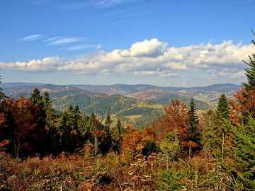 Pieniny Poland - autumn mountain panorama