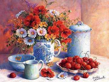Malerei. - Kunst. Gemalte Blumen und Früchte.