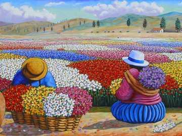 Sztuka peruwiańska - Kobiety, pole kwiatów, praca