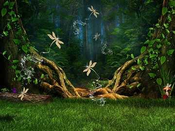Krajobraz fantasy - Ważki w bajkowym lesie