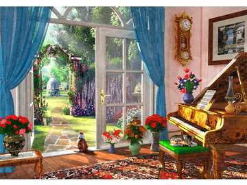 Look into the green - Room, cats, piano, flowers, door, garden
