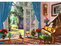 Olhe para o verde - Quarto, gatos, piano, flores, porta, jardim