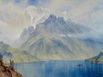 jezioro w pobliżu góry w ciągu dnia - Monte Civetta, 1867. Artysta: Elijah Walton. .