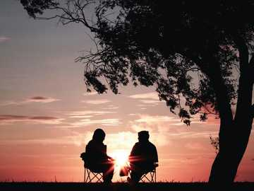 Pink sunset couple - silhouette of two person sitting on chair near tree.