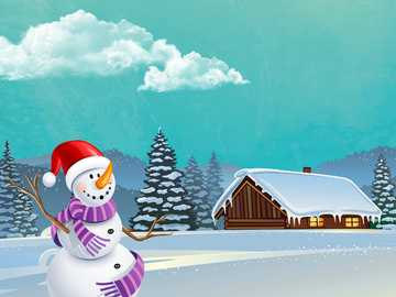 WINTER LANDSCAPE - A winter landscape with a joyful snowman in 2D