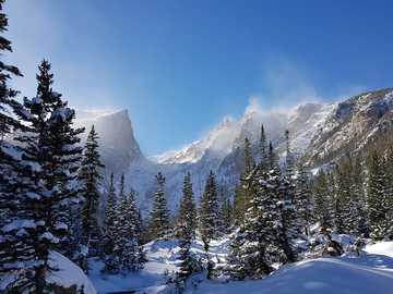 Kolorado - las pokryty śniegiem pod błękitnym i białym niebem.