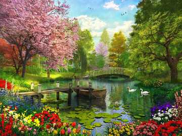 Spring in the park - Trees, pond, flowers, pier, bridge, boat, swans