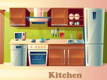 Kitchen- Kitchen - Parts of the house. in this place you can prepare food and eat these.