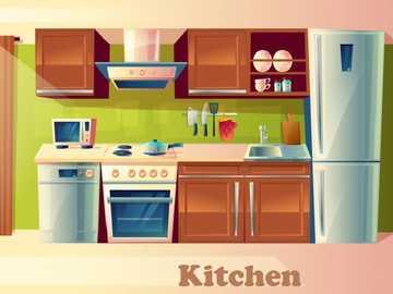 Kuchnia - kuchnia - Części domu. w tym miejscu możesz przygotować jedzenie i je zjeść.