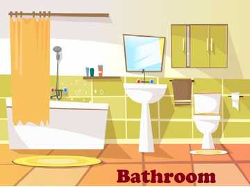 Bathroom- bathroom - Parts of the house: This is a place where you can do your personal hygiene.