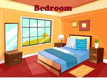 Bedroom- Room - Parts of the house: This is a place where you can comfortably sleep every night.